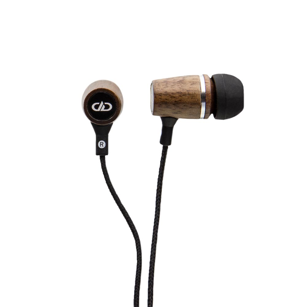 Earbud- Black Walnut Wood with Mic